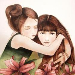 the sisters with lily flowers art print